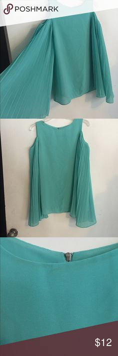 """Mm couture Aqua size M cold shoulder batwing top Cute top by mm couture. Size m. All poly armpit to armpit 17"""". Fun large batwing sleeves. Cold shoulder. Does have a makeup mark on color. I tried getting out but no luck MM Couture Tops Blouses"""