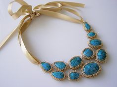 Turquoise Necklace Crochet Goldfilled Necklace by orithadad, $360.00