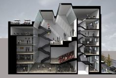 Gallery of Factoría Italia Project / Tidy Arquitectos + Gabriel Cáceres + Dani… Cultural Architecture, Theater Architecture, Architecture Graphics, Architecture Drawings, Concept Architecture, Interior Architecture, Sectional Perspective, Building Section, Modelos 3d