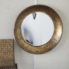 Round Metal Mirror ~ Antiqued Gold