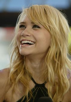 Long, Blonde, Wavy and Side Swept Bangs- Ashley Olsen