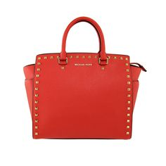IN THE RED | MICHAEL KORS - MICHAEL Michael Kors large Selma studded tote in mandarin saffiano leather with golden studded trim and removable shoulder strap.  Interior monogram lining with one zip and four open pockets.