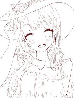 Art Drawings Sketches Simple, Kawaii Drawings, Manga Anime Girl, Otaku Anime, Lineart Anime, Drawing Reference Poses, Anime Sketch, Line Drawing, Drawing Base