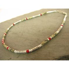 Silver Necklace with Dalmatian Agate and Bamboo Coral
