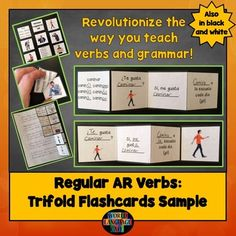 Free Sample of AR Verbs Trifold Flashcards   Do your students struggle with verb conjugations?   These trifold flashcards will teach your students how to use AR verbs (and other tricky grammar) correctly and fluently. Great for end of year review!