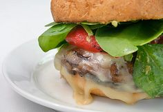 Meatless Monday: Portobello Burgers with Pesto, Provolone and Roasted Red Peppers