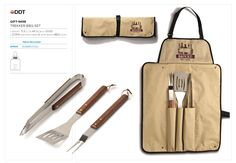 TREKKER BBQ SET apron: folds into a neat carry bag ( l ) x ( w ) x ( h ) tools: stainless steel & pine wood