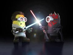 Vamers - Artistry - Fandom - Minion Wars Feel the Force - Star Wars and Despicable Me Mash-Up - Minion Obi Wan versus Darth Maul Amor Minions, Despicable Me 2 Minions, Cute Minions, Minions Quotes, Minion Stuff, Iphone 6 Plus Wallpaper, Star Wars Wallpaper, Minion Wallpaper, Desktop Backgrounds
