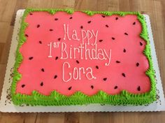 Watermelon Birthday Parties, Summer Birthday, First Birthday Parties, First Birthdays, Birthday Sheet Cakes, First Birthday Cakes, Birthday Cake Girls, Birthday Ideas, Summer Cakes