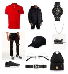 A menswear look from September 2017 featuring mens polo shirts, mens ripped jeans and men's shell jacket. Browse and shop related looks. Givenchy Polo, Versace, Men's Fashion, Polo Ralph Lauren, Gucci, Menswear, Stitch, Shoe Bag, American