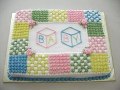 Quilt Cake - Baby Baby Shower Cake Designs, Baby Shower Sheet Cakes, Baby Shower Cakes Neutral, Torta Baby Shower, Baby Shower Deco, Baby Shower Cakes For Boys, Baby Shower Cupcakes, Baby Shower Parties, Baby Shower Themes