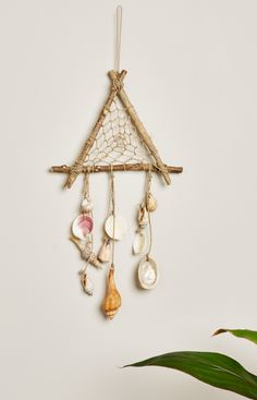 Triangle Wood and Shell Mobile. #earthboundtrading