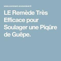 LE Remède Très Efficace pour Soulager une Piqûre de Guêpe.