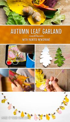 Painted Newspaper Leaf Garland.  This Fall beauty is inspired by collecting bits…