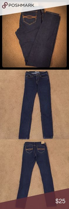 """Abercrombie & Fitch Jeans A&F super skinny jeans with some stretch. Dark wash.  5 pocket, button & zip closure.  Classic back pocket stitching detail.  Mid rise. 4 Regular (27"""" waist, 31"""" inseam).  Excellent condition only worn one time- just not my size.  No trades. Abercrombie & Fitch Jeans Skinny"""
