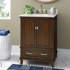 "Ka 36"" Single Bathroom Vanity Set & Reviews | Joss & Main 36 Inch Bathroom Vanity, 24 Vanity, Vanity Cabinet, Vanity Sink, Cabinet Handles, Downstairs Bathroom, Bathroom Vanities, Bathroom Ideas, Decorative Soaps"