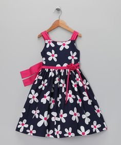 Navy & Pink Daisy Dress & Shrug - Toddler & Girls