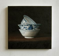JAN WISSE: oil on canvas - study - '3 Chinese Bowls' - 20 x 2...