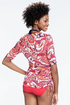 Women's Paisley Adjustable Swim Tunic Rash Guard from Lands' End