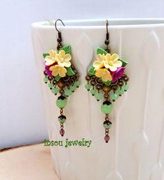 Floral Chandelier Ohrringe Blume Ohrringe grün Schmuck Boho