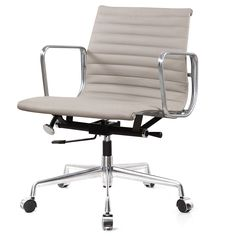 Eames Style Aluminum Group Office Chair in White Leather - modern - Task Chairs - Meelano Best Office Chair, Executive Office Chairs, Swivel Office Chair, Desk Chair, White Leather Furniture, Grey Leather, Modern Chairs, Modern Furniture, Midcentury Modern