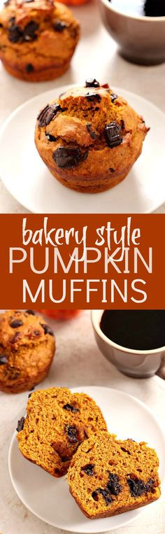 Bakery Style Chocolate Chunk Pumpkin Muffins - jumbo pumpkin muffins with dark chocolate chunks! Make bakery style treat in your own kitchen!