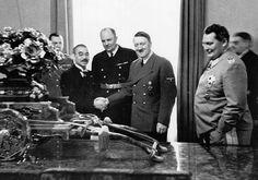 """September 27, 1940 -the Axis powers are formed as Germany, Italy, and Japan become allies with the signing of the Tripartite Pact in Berlin. The Pact provided for mutual assistance should any of the signatories suffer attack by any nation not already involved in the war. This formalizing of the alliance was aimed directly at """"neutral"""" America–designed to force the United States to think twice before venturing in on the side of the Allies."""