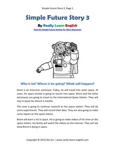 Free printable story and exercises to practice the English Simple Future Verb Tense (PDF download)