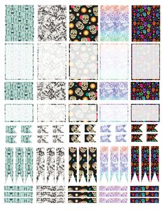 Printable Erin Condren Skull Stickers Boxes Flags Half Boxes Sugar Skulls Halloween October Cute Skeleton Sticker ECLP Filofax Happy Planner