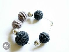 The Beaded Bracelet Crochet and Metal Beads by caracolhandmade, $18.00