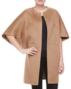 Open-Front Brushed Alpaca & Wool Coat, Fawn  by Michael Kors at Neiman Marcus.