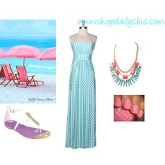 """""""Shape Up and Ship Out Chevron Maxi"""" by shopdailychic"""