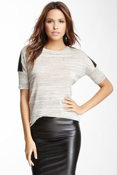 Faux Leather & Knit Top