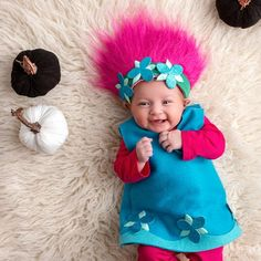 From PaperScissorsFrocks on Etsy: Costume and dress patterns for big and small. Poppy Halloween Costume, Poppy Costume, Family Halloween Costumes, Halloween 2015, Baby Costumes, Costume Dress, Halloween Party, Crochet Troll Hat, Troll Costume