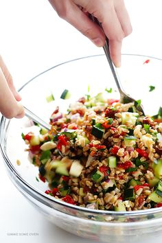 Mediterranean Farro Salad -- this simple dish is quick and easy to whip up, and full of the best flavors!   gimmesomeoven.com