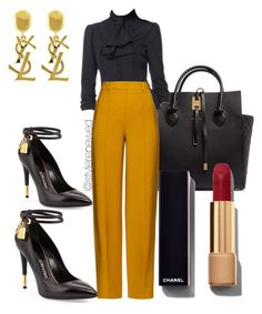 A fashion look from March 2016 featuring button up top, wide leg trousers and black leather pumps. Browse and shop related looks. Business Casual Attire, Business Outfits, Mode Outfits, Fashion Outfits, Womens Fashion, Classy Outfits, Stylish Outfits, Professional Outfits, Work Fashion
