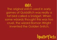 truth is, I read a book on the history of quiditch.....I knew this long ago.