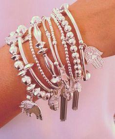 Beautiful bracelets for the loved one in your life. Silver Bracelets, Silver Earrings, Jewelry Bracelets, Silver Jewelry, Stack Bracelets, Bangles, Stone Jewelry, Boho Jewelry, Jewelery