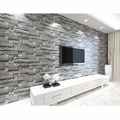 way Modern Wall Paper Wallpaper Roll Vinyl Brick Stone Effect for Living Room TV Background Decor Roll Textured Mural. White Brick Wallpaper, 3d Wallpaper For Walls, Stone Wallpaper, Wallpaper Roll, Paper Wallpaper, Brick Wallpaper Living Room, Brick Wallpaper Decor Ideas, Textured Wallpaper, Painted Wallpaper