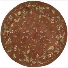 Nourison Hand-tufted Julian Floral Spice Rug (6' Round) (1), Orange, Size 6'