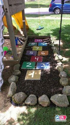 75 Fun Backyard Kids Design Ideas for Summer Outdoor Playground - Homekover - The Best Outdoor Play Area Ideas Backyard Garden Design, Backyard For Kids, Backyard Projects, Backyard Patio, Backyard Landscaping, Big Garden, Garden Grass, Landscaping Ideas, Diy Patio