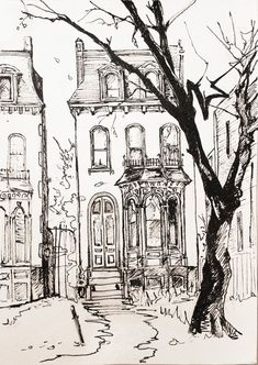 Cool Art Drawings, Ink Pen Drawings, Art Drawings Sketches, Small Drawings, Black Pen Drawing, Black And White Art Drawing, Drawings On Black Paper, Building Drawing, Building Art