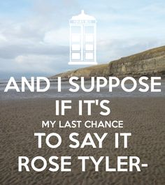 And I suppose, if it's my last chance to say it, Rose Tyler---