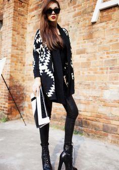 Black Geometric Irregular Long Sleeve Cardigan