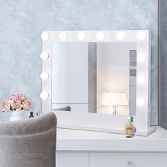 Tangkula Wall Mirror Hollywood Makeup Vanity Mirror W Light Tabletops Lighted Mirror Dimmer LED Illuminated Cosmetic Mirror W LED Dimmable Bulbs White-Rectangle Vanity Makeup Rooms, Makeup Vanity Mirror, Vanity Desk, Lighted Vanity Mirror, Makeup Mirror With Lights, Wall Mirror, Dressing Mirror, Dressing Tables, Hollywood Makeup Mirror
