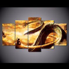 5 Pcs/Set Framed HD Printed Cartoon Dragon Ball Z Picture Wall Art Canvas Print Room Decor Poster Canvas Pictures Painting#dragon ball z canvas art