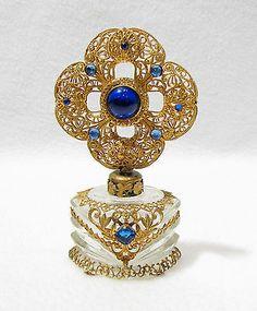 Vintage Czech Perfume Bottle Blue Jeweled Ornate Gold Filigree w Dauber.