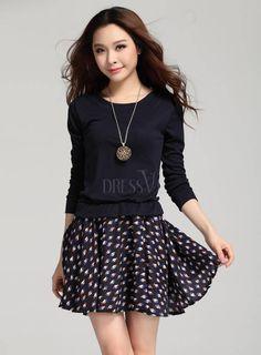 Soft Korean Style Loose Split Joint Long Sleeves Knit Dress