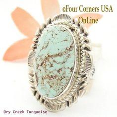 Size 9 Dry Creek Turquoise Large Stone Ring Navajo Artisan Thomas Francisco NAR-1712 Four Corners USA OnLine