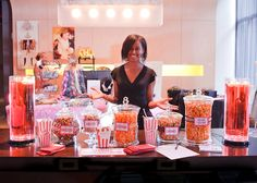 Popcorn station for weddings and events! How cute!